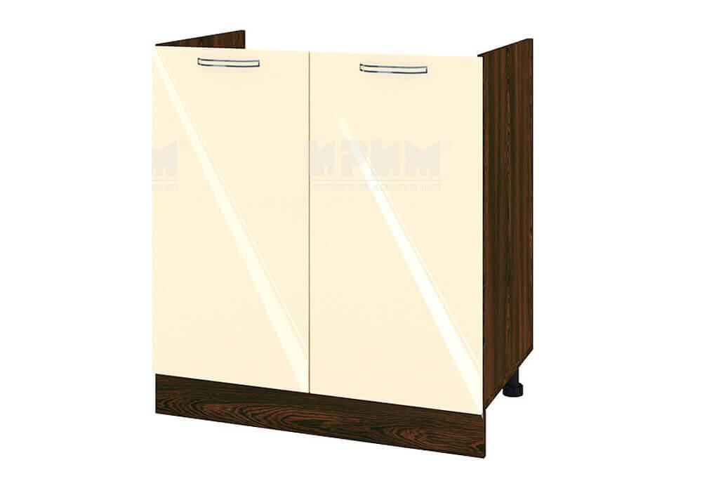 Кухненски шкаф с две врати за бордова мивка - 80 см МДФ лице - ВФ-Бежово гланц-05-30