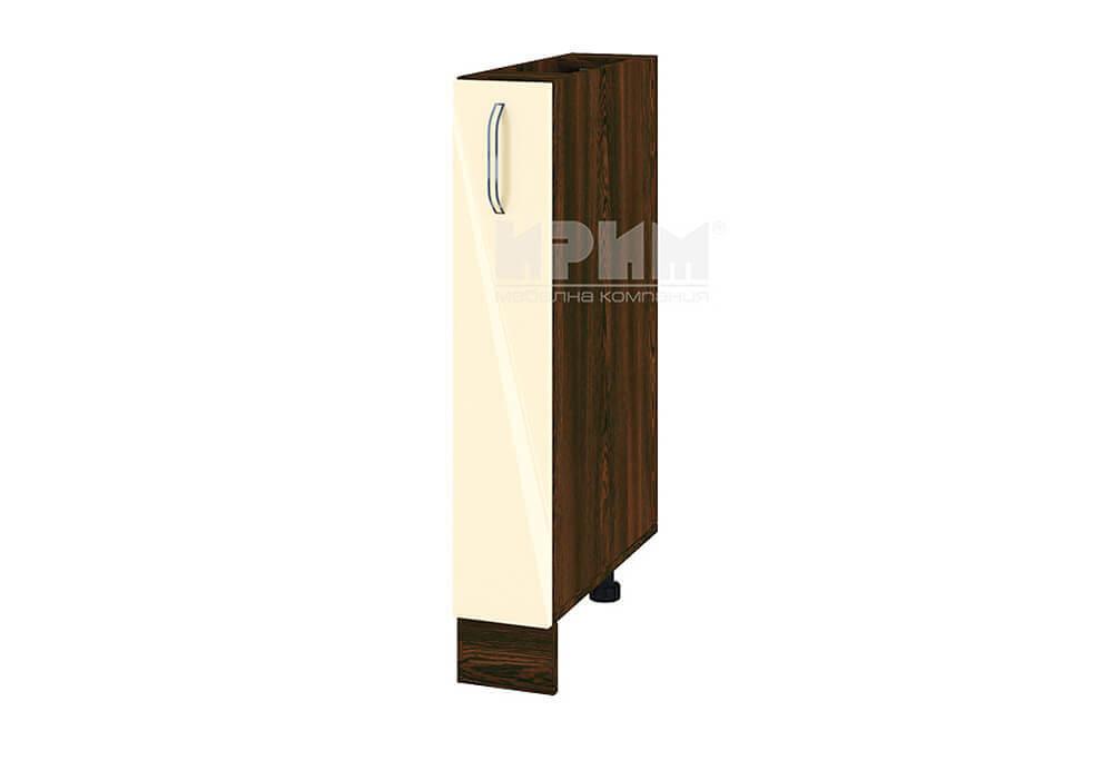 Кухненски шкаф с изтеглящ се маханизъм за бутилки МДФ лице - 15 см - ВФ-Бежово гланц-05-41
