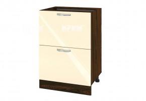 Долен кухненски шкаф с две дълбоки чекмеджета - 60 см МДФ лице - ВФ-Бежово гланц-05-44