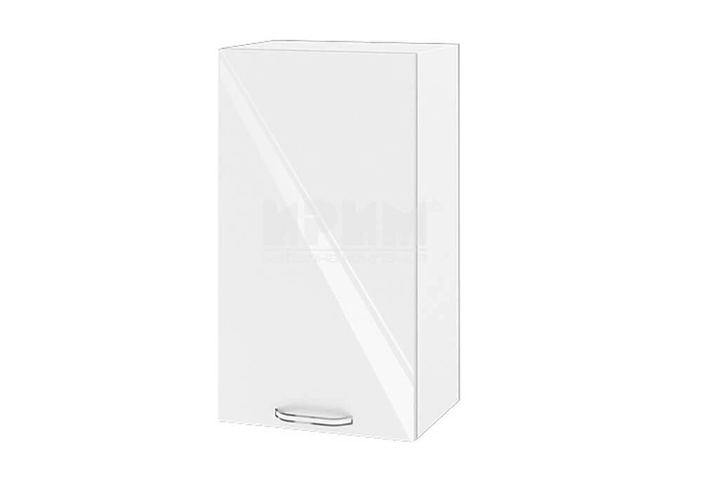 Горен кухненски шкаф с една врата - 40 см МДФ лице - БФ-Бяло гланц-05-2