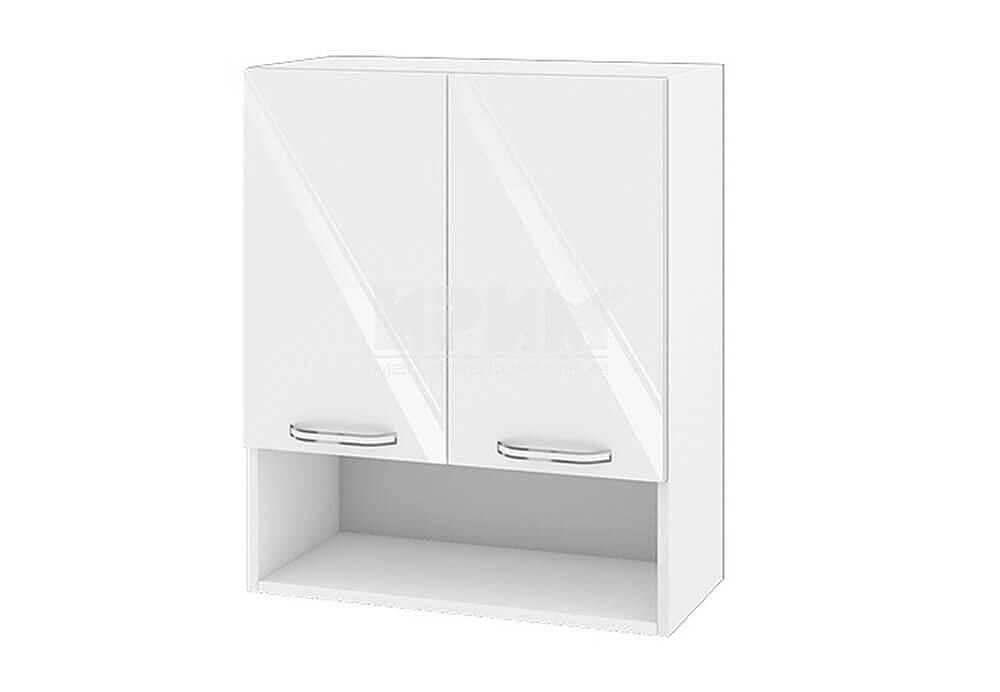 Горен кухненски шкаф с две врати и ниша - 60 см МДФ лице - БФ-Бяло гланц-05-7