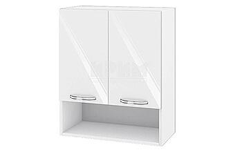 Горен кухненски шкаф с две врати и ниша - 60 см МДФ Бяло гланц - БФ-05-03-07