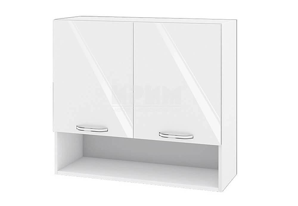 Горен кухненски шкаф с две врати и ниша - 80 см МДФ лице - БФ-Бяло гланц-05-8