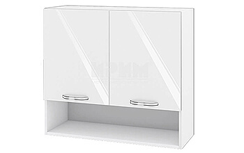 Горен кухненски шкаф с две врати и ниша - 80 см МДФ Бяло гланц - БФ-05-03-08