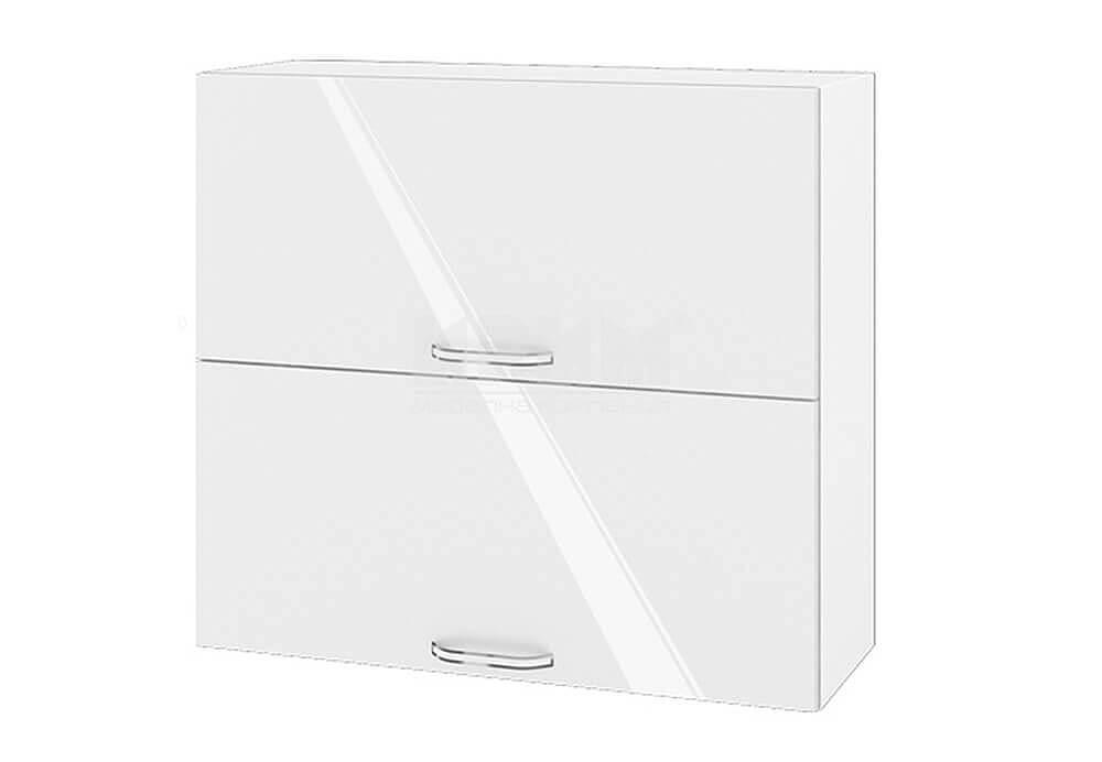 Горен кухненски шкаф с две повдигащи се врати - 80 см МДФ лице - БФ-Бяло гланц-05-12