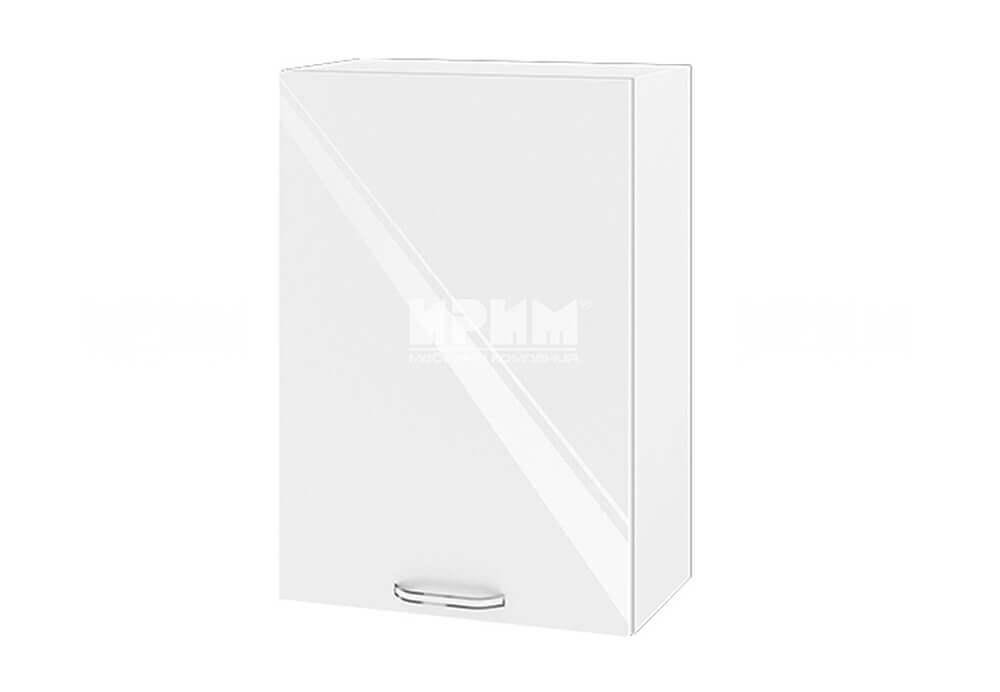 Горен кухненски шкаф с една врата - 50 см МДФ лице - БФ-Бяло гланц-05-18