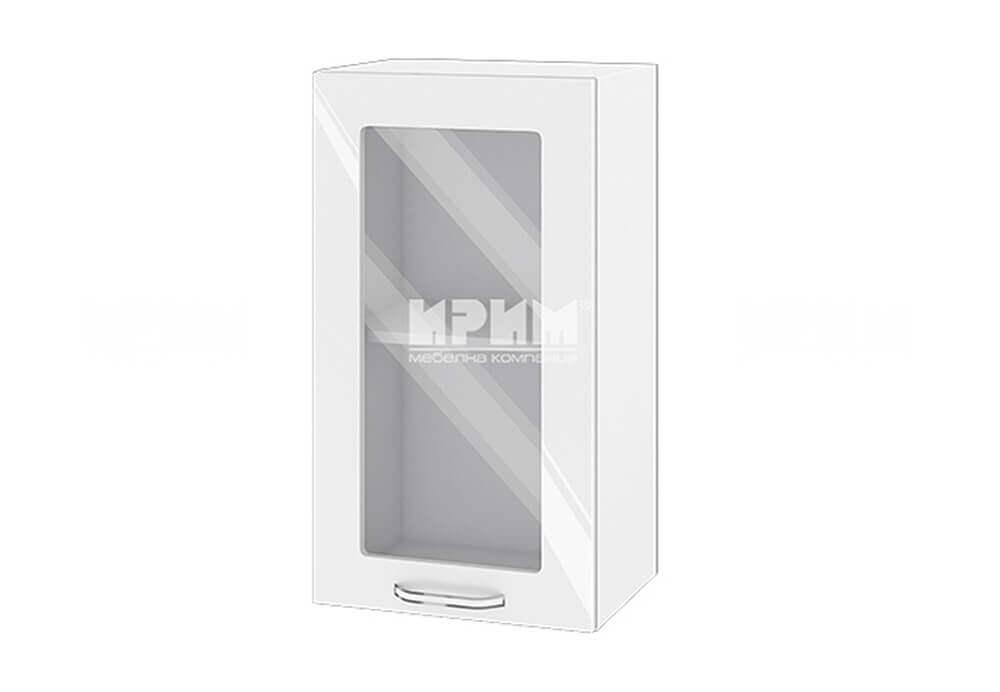 Горен кухненски шкаф с витрина - 40 см МДФ - БФ-Бяло гланц-05-202