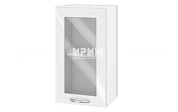 Горен кухненски шкаф с витрина - 40 см МДФ Бяло гланц - БФ-05-03-2002