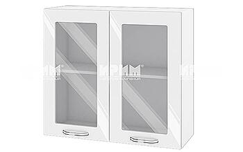 Горен кухненски шкаф с две витрини - 80 см МДФ лице - БФ-Бяло гланц-105-204