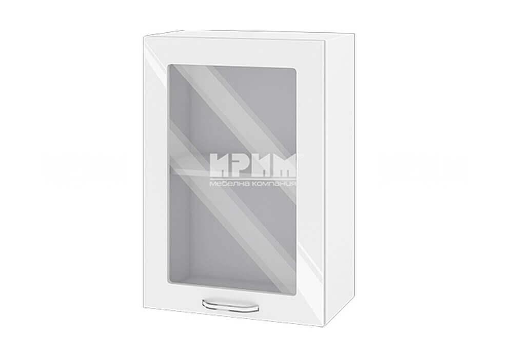 Горен кухненски шкаф с една витрина - 50 см МДФ лице - БФ-Бяло гланц-05-218