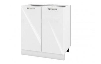 Долен кухненски шкаф с две врати - 80 см МДФ лице - БФ-Бяло гланц-05-23