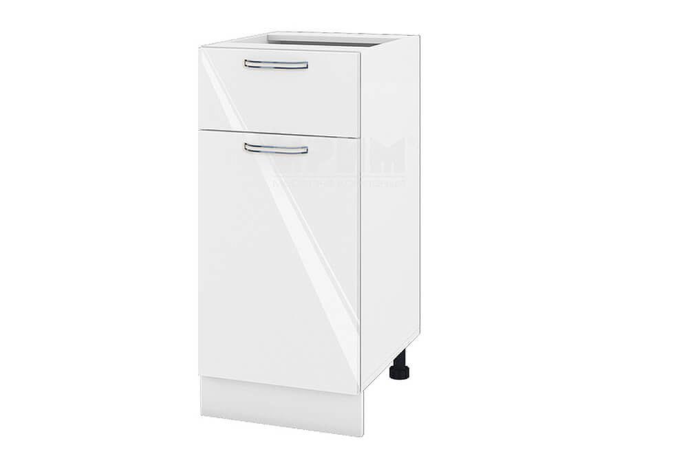 Долен кухненски шкаф с врата и чекмедже - 40 см МДФ лице - БФ-Бяло гланц-05-24