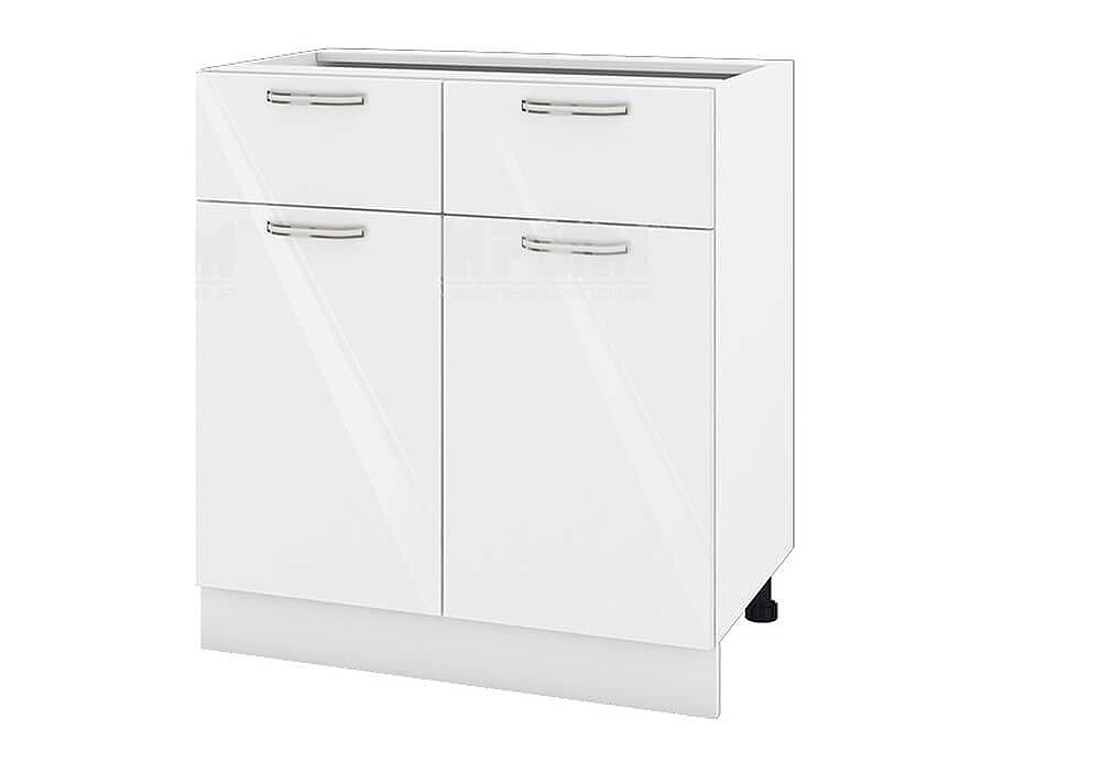Долен кухненски шкаф с две врати и две чекмеджета - 80 см МДФ лице - БФ-Бяло гланц-05-26