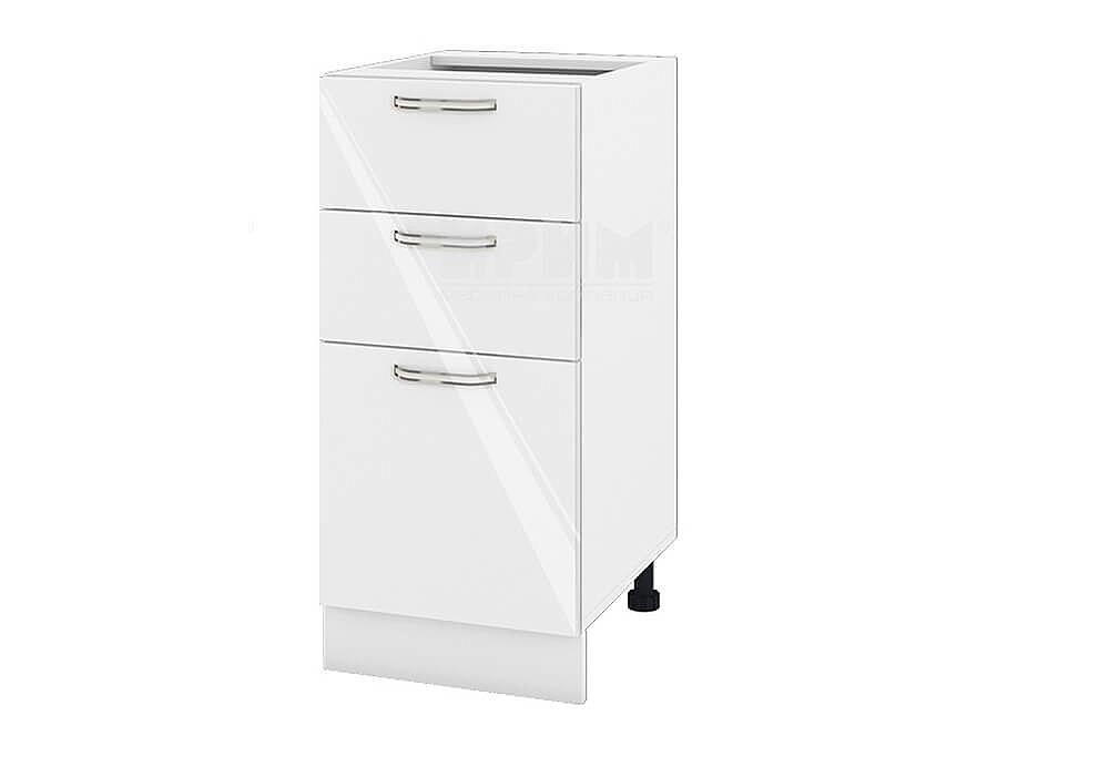 Долен кухненски шкаф с една врата и две чекмеджета - 40 см МДФ лице - БФ-Бяло гланц-05-27
