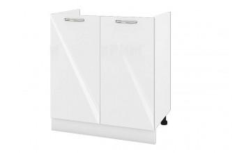 Кухненски шкаф с две врати за бордова мивка - 80 см МДФ лице - БФ-Бяло гланц-05-30