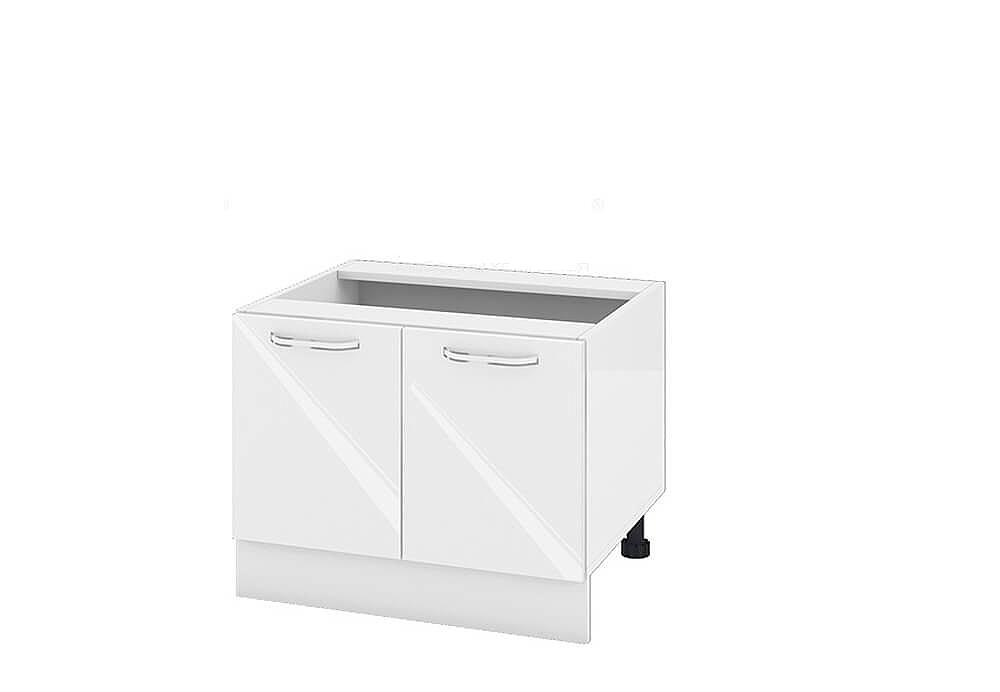Кухненски шкаф с две врати за печка Раховец - 60 см МДФ лице - БФ-Бяло гланц-05-32