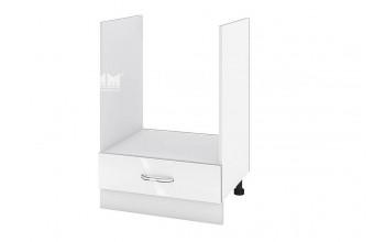 Кухненски шкаф за вграждане на фурна с едно чекмедже - 60 см МДФ лице - БФ-Бяло гланц-05-36