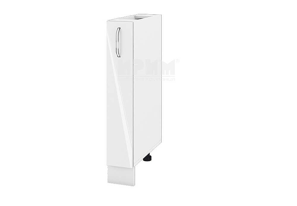 Кухненски шкаф с изтеглящ се маханизъм за бутилки МДФ лице - 15 см - БФ-Бяло гланц-05-41
