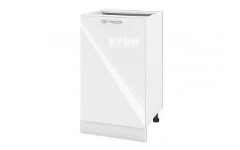 Долен кухненски шкаф с една врата - 50 см МДФ лице - БФ-Бяло гланц-05-43