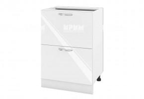 Долен кухненски шкаф с две дълбоки чекмеджета - 60 см МДФ лице - БФ-Бяло гланц-05-44