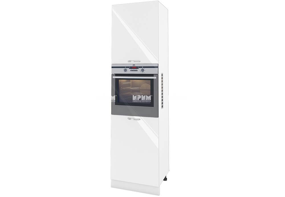 Колонен шкаф с три врати с възможност за вграждане на фурна и микровълнова фурна - 60 см МДФ лице - БФ-Бяло гланц-05-48