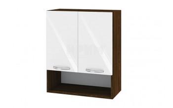 Горен кухненски шкаф с две врати и ниша - 60 см МДФ лице - ВФ-Бяло гланц-05-7