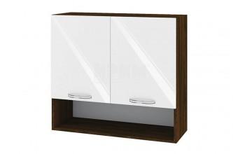 Горен кухненски шкаф с две врати и ниша - 80 см МДФ лице - ВФ-Бяло гланц-05-8