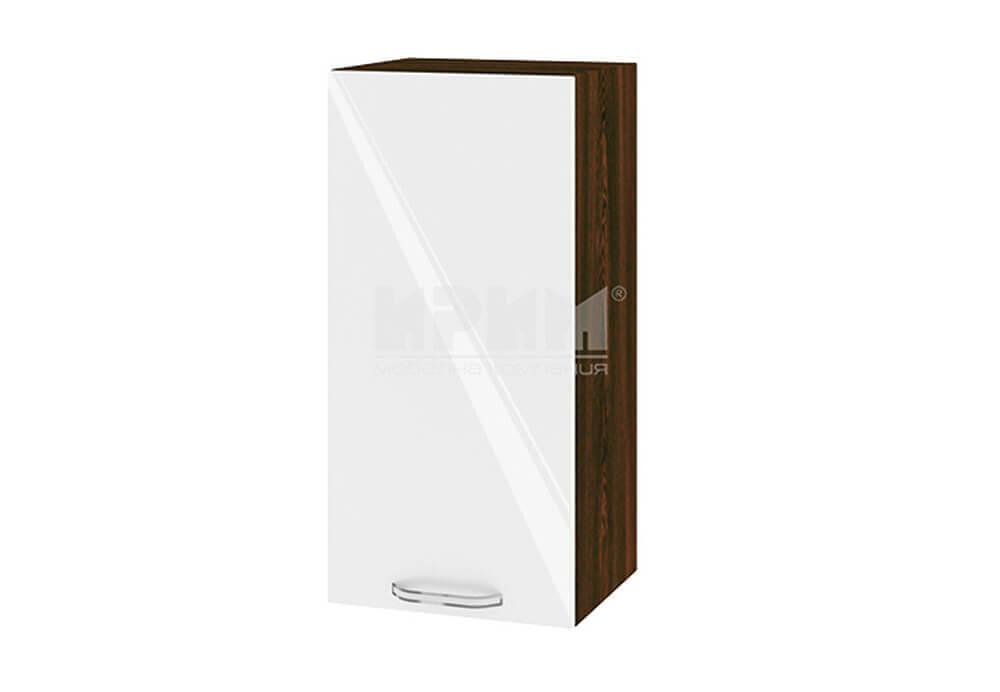 Горен кухненски шкаф с една врата - 35 см МДФ лице - ВФ-Бяло гланц-05-16
