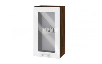 Горен кухненски шкаф с витрина - 40 см МДФ лице - ВФ-Бяло гланц-05-202