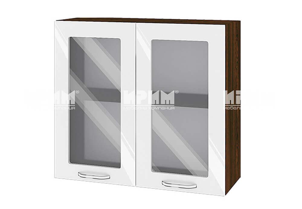 Горен кухненски шкаф с две витрини - 80 см МДФ лице - ВФ-Бяло гланц-05-204