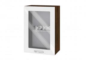 Горен кухненски шкаф с една витрина - 50 см МДФ лице - ВФ-Бяло гланц-05-218