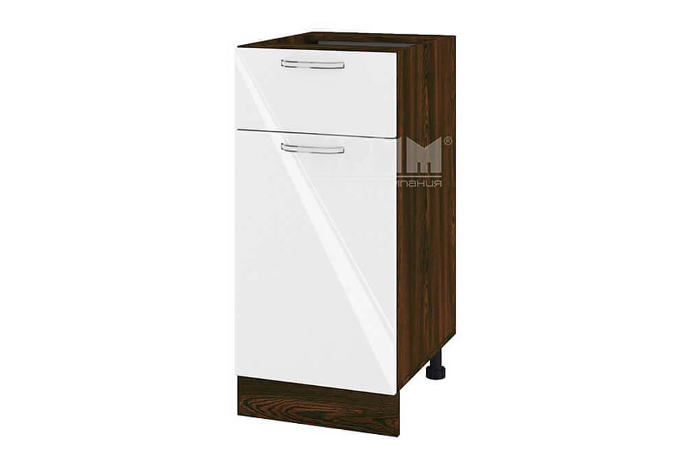 Долен кухненски шкаф с врата и чекмедже - 40 см МДФ лице - ВФ-Бяло гланц-05-24