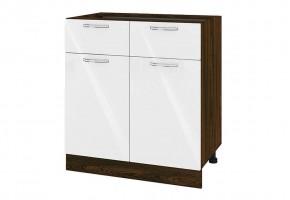 Долен кухненски шкаф с две врати и две чекмеджета - 80 см МДФ лице - ВФ-Бяло гланц-05-26