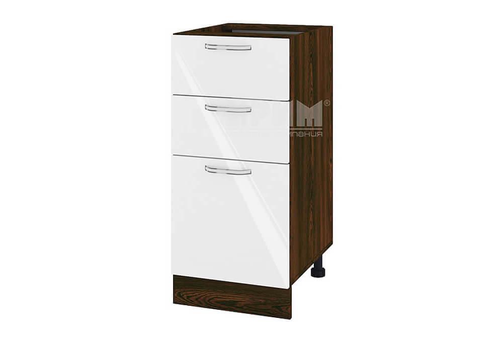 Долен кухненски шкаф с една врата и две чекмеджета - 40 см МДФ лице - ВФ-Бяло гланц-05-27