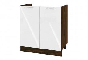 Кухненски шкаф с две врати за бордова мивка - 80 см МДФ лице - ВФ-Бяло гланц-05-30