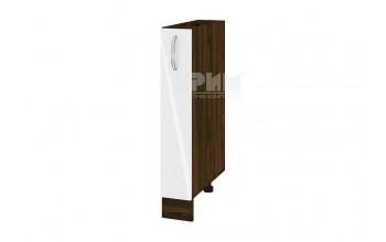 Кухненски шкаф с изтеглящ се маханизъм за бутилки МДФ лице - 15 см - ВФ-Бяло гланц-05-41