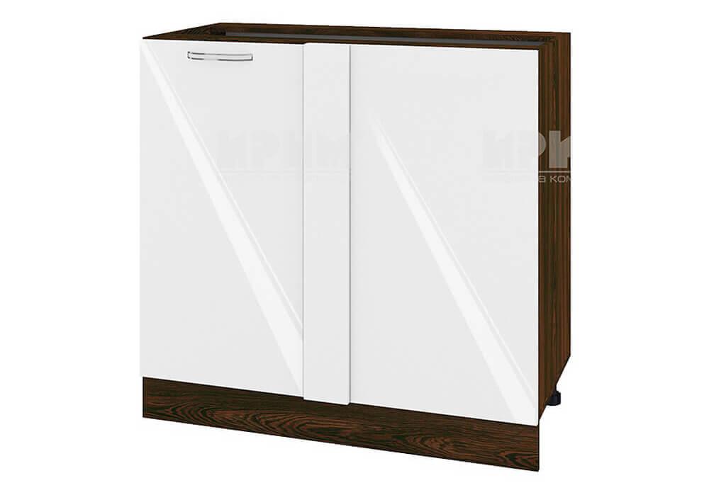 Долен кухненски шкаф с една врата за ъгъл - 90 см МДФ лице - ВФ-Бяло гланц-05-42