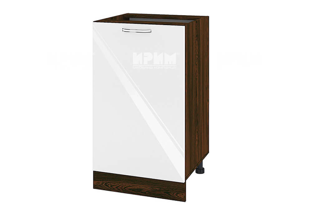 Долен кухненски шкаф с една врата - 50 см МДФ лице - ВФ-Бяло гланц-05-43