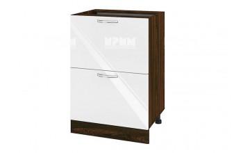 Долен кухненски шкаф с две дълбоки чекмеджета - 60 см МДФ лице - ВФ-Бяло гланц-05-44