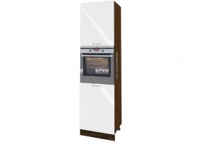 Колонен шкаф с четири врати с възможност за вграждане на фурна и микровълнова фурна - 60 см МДФ лице - ВФ-Бяло гланц-05-48