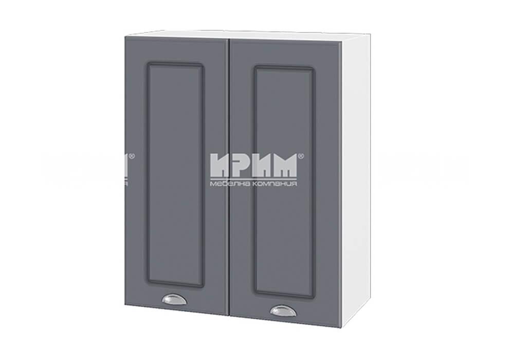 Горен кухненски шкаф с две врати - 60 см МДФ лице - БФ-Цимент мат-06-3