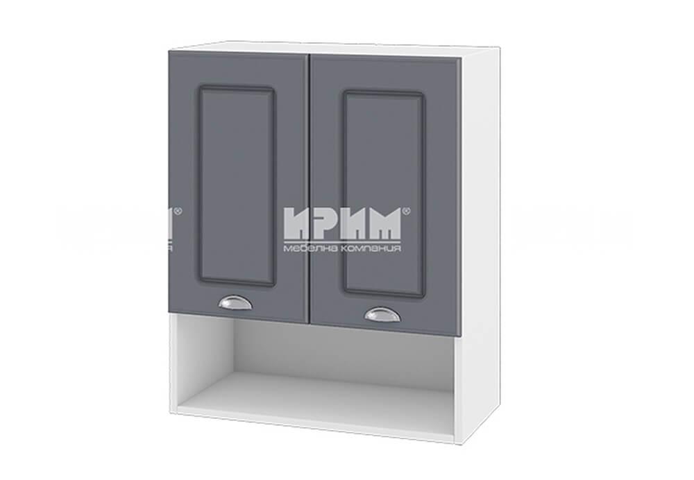 Горен кухненски шкаф с две врати и ниша - 60 см МДФ лице - БФ-Цимент мат-06-7