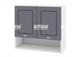Горен кухненски шкаф с две врати и ниша - 80 см МДФ лице - БФ-Цимент мат-06-8