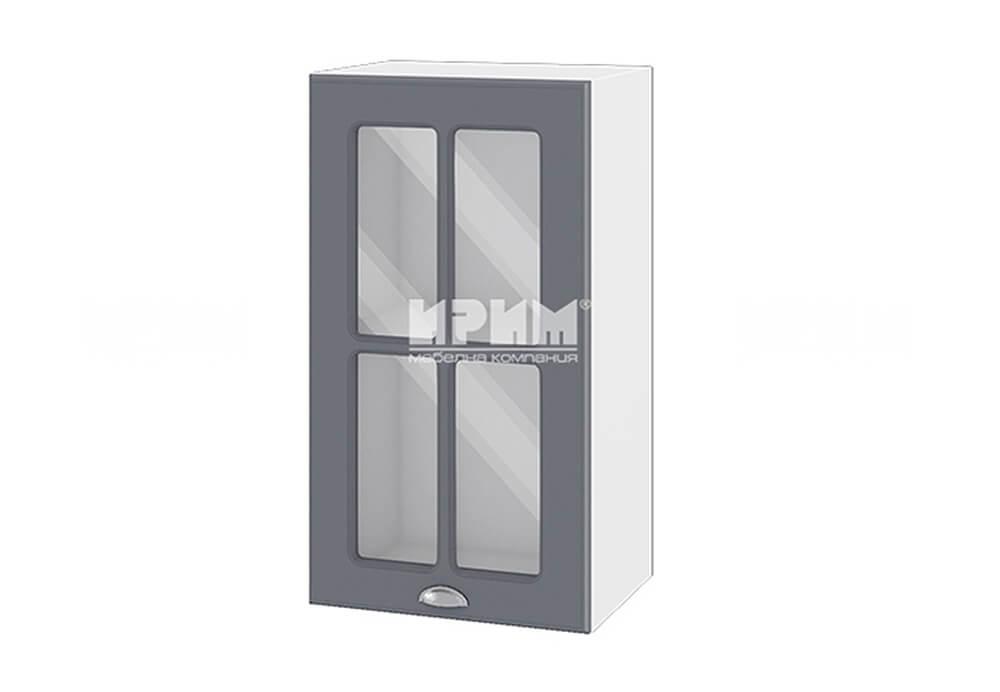 Горен кухненски шкаф с витрина - 40 см МДФ - БФ-Цимент мат-06-102