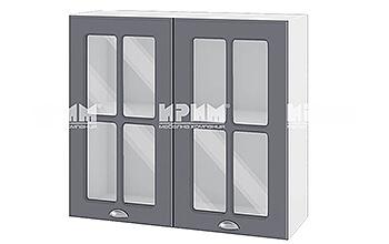 Горен кухненски шкаф с две витрини - 80 см МДФ - БФ-Цимент мат-06-104