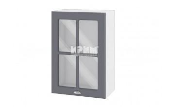 Горен кухненски шкаф с една витрина - 50 см МДФ лице - БФ-Цимент мат-06-118