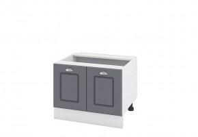 Кухненски шкаф с две врати за печка Раховец - 60 см МДФ лице - БФ-Цимент мат-06-32