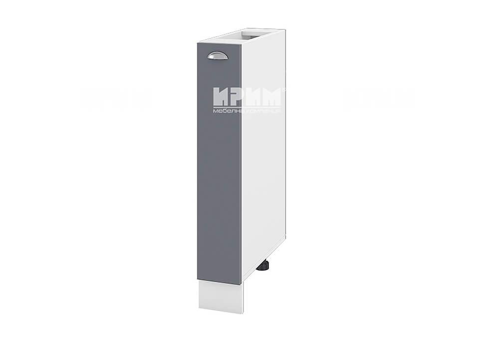 Кухненски шкаф с изтеглящ се механизъм за бутилки МДФ лице - 15 см - БФ-Цимент мат-06-41