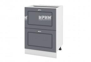 Долен кухненски шкаф с две дълбоки чекмеджета - 60 см МДФ лице - БФ-Цимент мат-06-44
