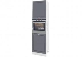 Колонен шкаф с четири врати за вграждане на фурна и микровълнова фурна - 60 см МДФ лице - БФ-Цимент мат-06-48